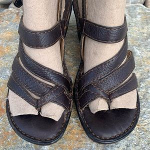 Women's Born Strappy Brown Leather Heeled Sandals